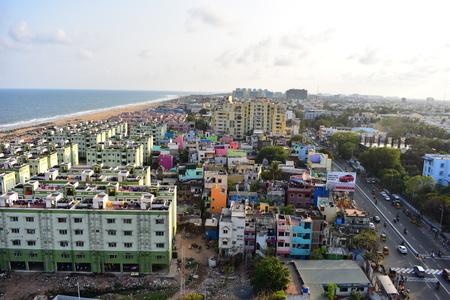 Chennai, Tamilnadu, India: January 26, 2019 - View from the Marina Lighthouse Stock Photo