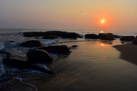 Chennai, Tamilnadu, India: Febrauary 15, 2019 - Sunrise at Kovalam Beach in Chennai