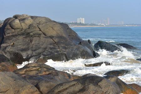 Chennai, Tamilnadu, India: Febrauary 15, 2019 - Rocks in Kovalam beach