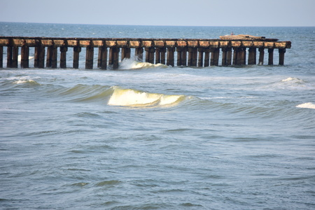 Chennai Ennore Nettukuppam Beach Broken Pier |