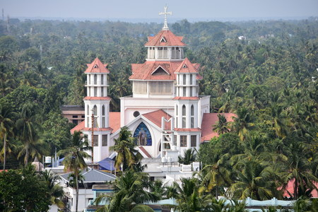 Kollam, Kerala, India: March 2, 2019 - Tangasseri Infant Jesus Cathedral Banque d'images