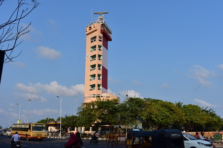 Chennai, Tamilnadu, India: January 26, 2019 - Chennai Lighthouse Stock Photo