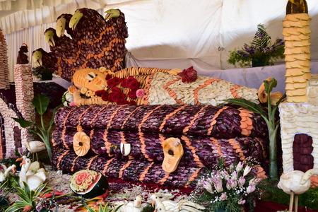 Kodaikanal, Tamilnadu, India - June 2, 2019: Statues made with flowers at the 58th flower show in Kodaikanal