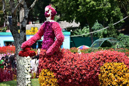 Kodaikanal, Tamilnadu, India - June 2, 2019: Statues made with flowers at the 58th flower show in Kodaikanal