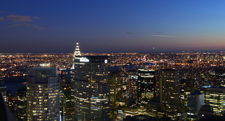 New York City, USA , December 14, 2014: New York City and the Empire State Building view from Rockefeller Center Editöryel