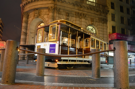 San Francisco, California, USA - August 31, 2015: San Francisco Cable Car at Night