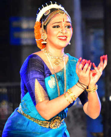 Chennai, Tamilnadu, India - February 2, 2020 - Actress Lakshmi Menon Dance Performance in Chennai Mylapore Kapaleeswara temple