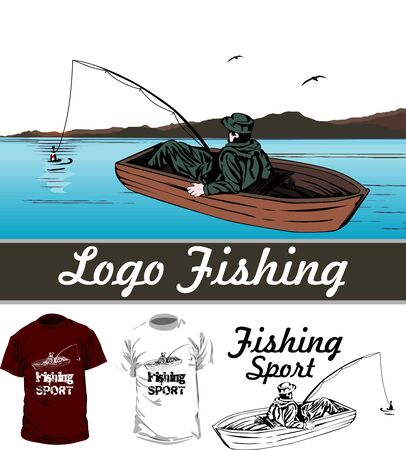 bateau de pêche: l'homme dans le bateau Illustration