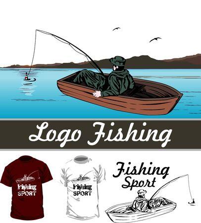 fishing boat: man in boat Illustration