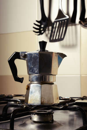 coffeepot: Italian vintage coffeepot on kitchen stove