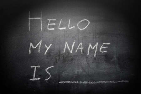 hello my name is: Self Introduction - Hello, My name is ... written on a blackboard Stock Photo
