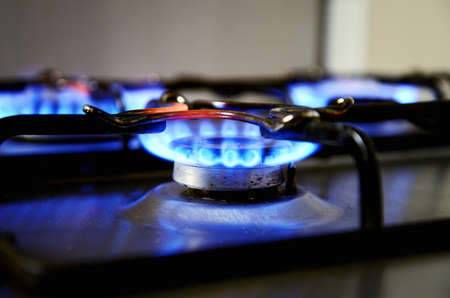 gas stove: blue flames from gas stove