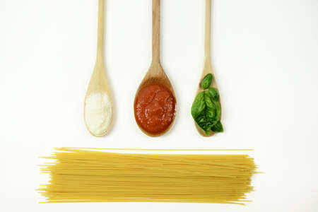 basic ingredients for Italian Spaghetti Stock Photo