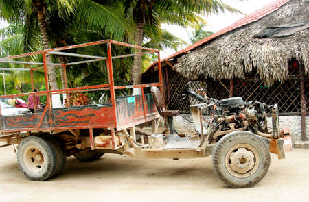 battered land: homemade truck for tourist trip in mexico