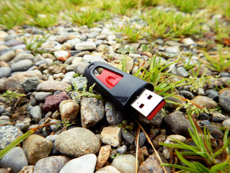 breaching: data loss, data breach - concept usb key dropped