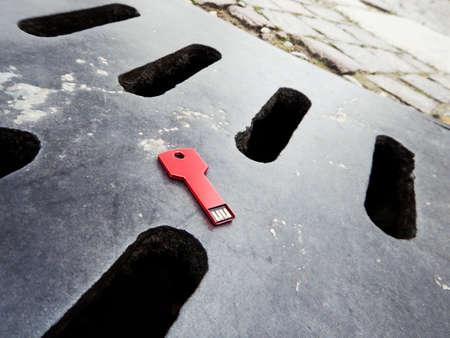 data loss, data breach - concept usb key dropped