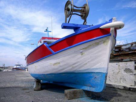 moored: retro fishing boat moored