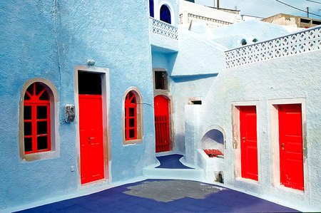 santorini details and street view