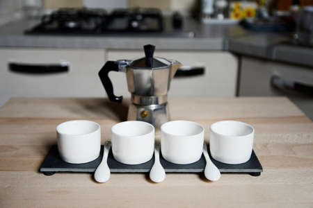 coffeepot: modern design coffee cups and vintage coffeepot