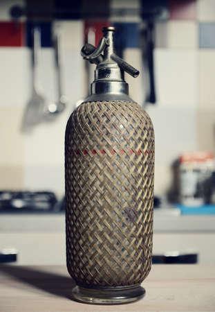 seltzer: vintage seltzer bottle on table