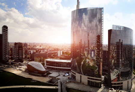 reflection of new modern district in Milan