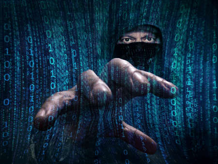 personal data privacy issues: dangerous hacker stealing data -concept