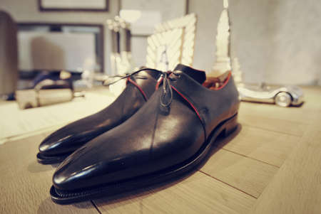 man in suite: man luxury hand made red shoes
