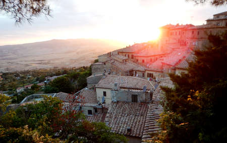 volterra: view at sunset of Volterra in Tuscany
