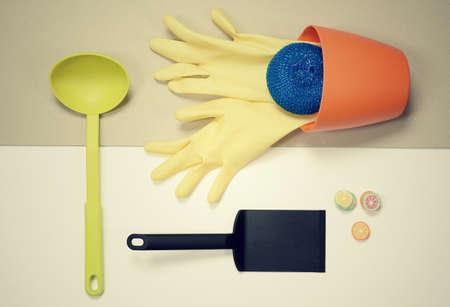 stuff: flat lay - kitchen stuff housework concept