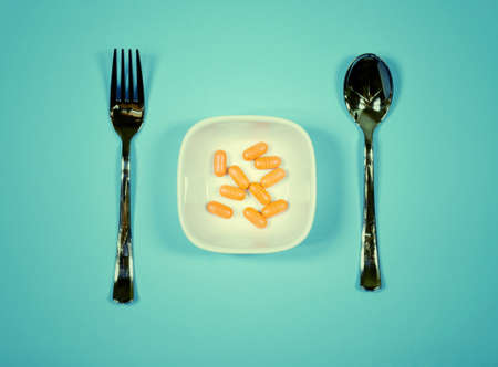 only pills on the plate - food diet concept
