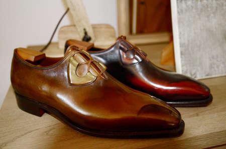 남자 고급 손으로 만든 신발 스톡 콘텐츠