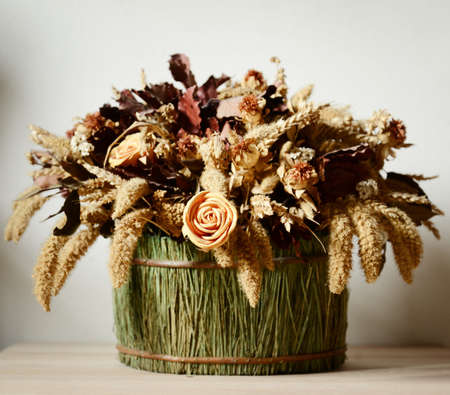 dried flowers: composition of dried flowers Stock Photo