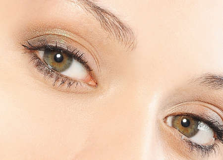 ojos verdes: beautiful woman green eyes and make up Foto de archivo