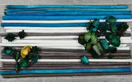 potpourri: scented potpourri  on colored wooden chopsticks Stock Photo