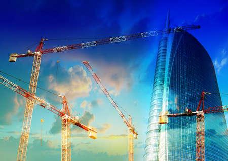 Building Site with crane and skyscraper