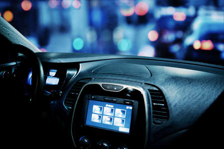 car cockpit with gps and connection screen