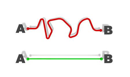 Von A bis B beste Lösung - Konzept 3D Rendering