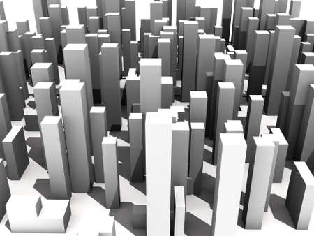 multiple personality: abstract digital city skylyne background 3D rendering