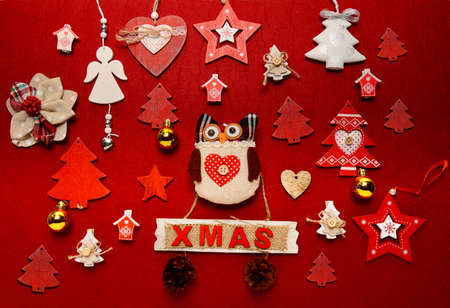Christmas ornament collection flat lay