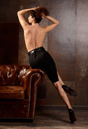 sensual woman with  sexy legs and black shoes