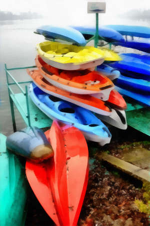 Digital art Painting - colorful canoes parked Imagens