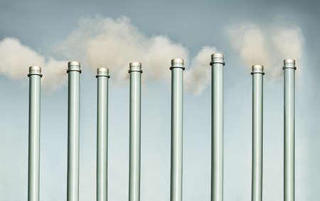 Chimneys and smokestack pollution 版權商用圖片 - 122714287