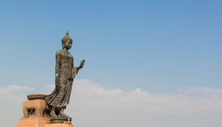 venerable: Black buddha statue in thai temple at nakronpathom
