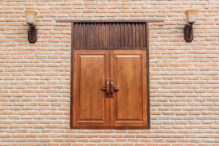 brick wall with window oriental style photo