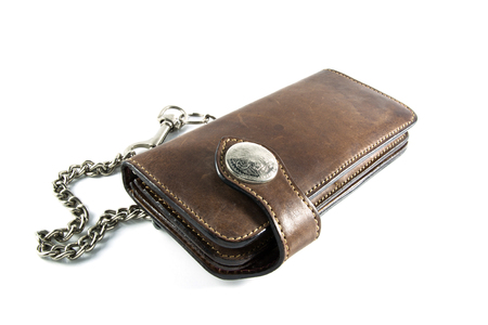 clothes organizer: vintage leather wallet with Chain on isolated