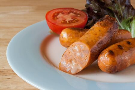 Grilled Italian mozzarella Cheese Sausage and vegetable on dish