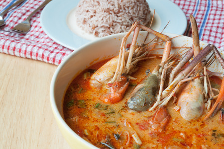 goong: Thai Food hot and spicy soup with big shrimp and rice , Thai name  Tom Yum Goong