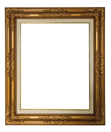 filagree: golden vintage luxury frame isolated on white for background