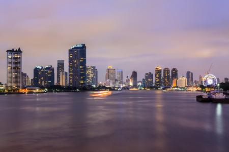 Bangkok City at twilight time , Chao Phraya River view , Thailand