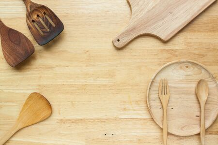 wooden kitchenware on wood deck for background